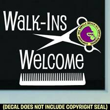 WALK-INS WELCOME COMB Decal Sticker Salon Spa Shop Hair Front Door Window Sign