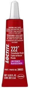 Loctite 555339 Threadlocker 222 Low Strength Tube Purple 6-Ml Automotive New