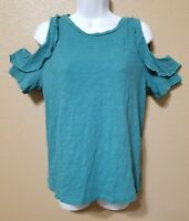 Ann Taylor Loft Women's Blouse top Pullover Ruffle Cold Shoulder Teal Size Small