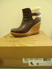 UGG® AUSTRALIA ANAIS CHESTNUT SUEDE WEDGE ANKLE BOOTS US 8 UK 6.5 EU 39