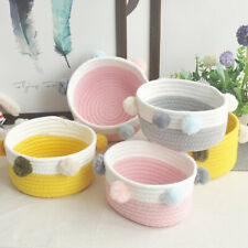 Woven Storage Baskets Foldable Rope Pompom Laundry Clothes Toy Storage Basket