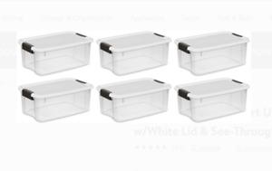 Clear Sterilite Containers 18 Quart 17 Liter Ultra Latch Box Storage Bins 6-Pack