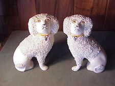 ADORABLE VINTAGE MATCHED PAIR ENGLISH STAFFORDSHIRE POODLE DOGS - GREAT FACES!