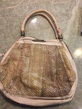 R&Y AUGOUSTI RARESNAKESKIN LARGESHOULDER BAG VINTAGE CREAM/ BROWN W/ HANDLES