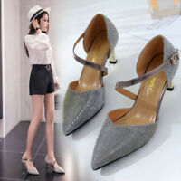 Womens Pointed Toe Kitten Heels Sequins Shoes Buckle Strap Party Pumps Loafers