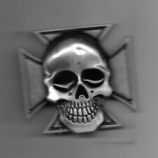"SKULL WITH IRON CROSS BELT BUCKLE PEWTER FINISH APPROX. SIZE: 3"" x 3"""