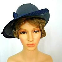 Vintage Bretton Style Hat Ann Marie Elegant Black Woven Up Tilted Side Brim
