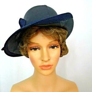 Vintage Bretton Style Hat Ann Marie Elegant Black Woven Up Tilted Side Brim