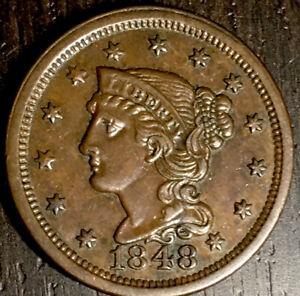 Choice AU/Borderline Unc 1848 Large Cent