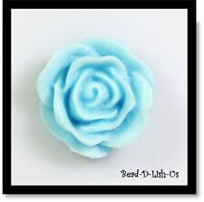 20mm Resin Rose Flower Cabochon Cameo Flatback DIY jewellery r24 - Blue -2pcs