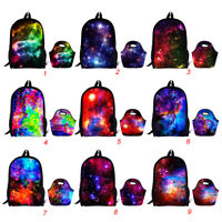 3D Galaxy School Bags Set Fashion Ladies Work Lunchboxes Kids Girls Backpack
