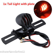 Black Grill Tail Stop Brake Light w/ License Plate For Motorcycle Chopper Bobber