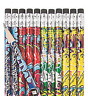 Pack of 12 - Graffiti Wooden Pencils with Erasers -  Party Bag Fillers