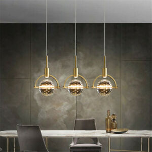 Gold Bar Chandelier Light Crystal Kitchen Pendant Light Modern Ceiling Lighting