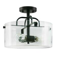 Home Decorators Collection 3-Light Bronze SemiFlush Mount with Clear Glass Shade