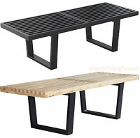 """72"""" (6 FT) MODERN GEORGE NELSON NATURAL OR BLACK SOLID WOOD BENCH COFFEE TABLE"""