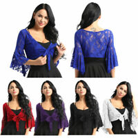 Womens Floral Lace 3/4 Sleeve Crop Tops Slip-on Short Shrug Bolero Shirt Party