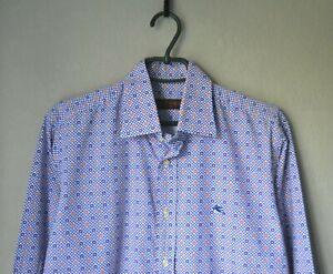 Authentic Luxury Rare ETRO MILANO Paisley/Houndstooth White/Purple Shirt Italy