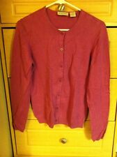 Atlantique woman's button up Cardigan Sweater 100% Pure Silk Orchid Purple M L