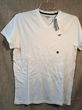 Men HOLLISTER Medium Solid White V-Neck T-Shirt Tee Shirt New with Tags Seagull