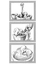 Dumbo Bath Time Nursery Wall Art Drawings Newborn Baby Gift Set of 3 Prints