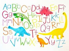 PRINT POSTER PAINTINGS DRAWING CHILDREN KIDS DINOSAUR ALPHABET COLOUR NOFL0928