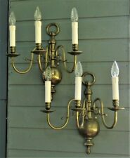 Large Antique Vintage Flemish brass wall lights ~ French Chic