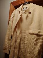A. Pallas Womens Unisex Off White Biege 100% Hand Loomed Wool Zipper Sweater Lrg