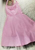 Mariposa retro pink 50's halter dress SIZE 8 black polka dot rockabilly (S)