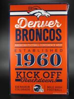 Denver Broncos Letrero de Madera 43CM NFL Fútbol, Established Madera Firmar