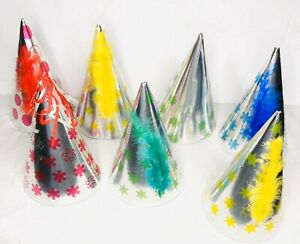 7 Vintage 1980s 1990s Silver Paper Cardboard Birthday Party Cone Hats Feather