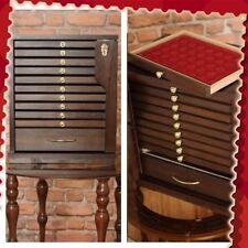 Colección De Monedas Medallas cajones bandeja de pecho del gabinete/10 Bandejas +1, Con Llave