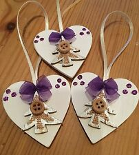3 X Christmas Decorations Wood Heart Jute Trees Purple Mini Bows