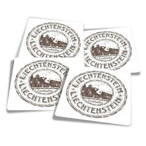 4x Square Stickers 10 cm - Liechtenstein Europe Travel Stamp  #7083