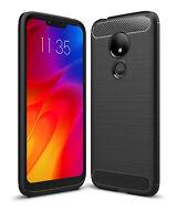 SDTEK Case for Motorola Moto G7 Power Carbon Fibre TPU Case Silicone Phone Cover