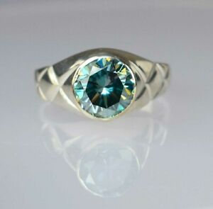 4.55 Ct Very Elegant Blue Diamond Solitaire Men's Ring Ideal Gift For Husband