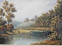 """VINTAGE FRAMED OIL ON CANVAS PAINTING SIGNED P.WILSON RIVER SCENE 20 1/2 x 16"""""""