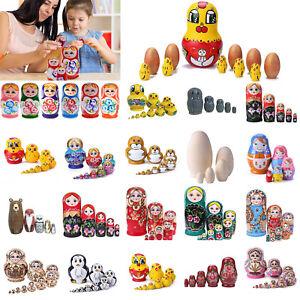 5-10pcs Russian Wooden Nesting Doll Matryoshka Hand Painted Kids Toys Decoration