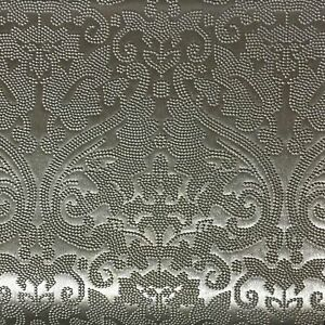 Lyon - Embossed Damask Pattern Vinyl Upholstery Fabric by the Yard