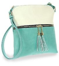 Tassel Accented Tuquoise and Beige Crossbody Sling Single Carry Strap