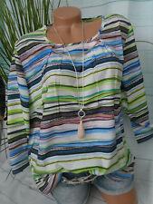 Paola Bluse Shirt Lagenshirt Gr 46 bis 60 Übergröße Streifen Optik (408)