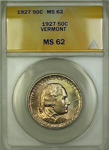 1927 Vermont Commemorative Silver Half Dollar 50c Coin ANACS MS-62 Toned