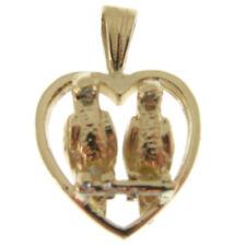GOLD LOVE BIRDS IN A HEART CHARM.  HALLMARKED 9 CARAT GOLD LOVE BIRDS CHARM