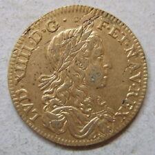 Louis XIV jeton laiton doré les Trois Ordres /  French royal brass gilt jetton