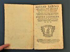 Libretto Opera Lirica Teatro Pergola Firenze 1781 Giulio Sabino Giuseppe Sarti