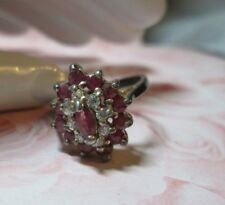 Vintage STERLING SILVER RING*PINKY RED & Clear COCKTAIL Ring*sz 6*          1666