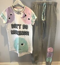 BNWT Primark monster 'I don't do mornings' Ladies Pyjamas set top & bottoms XS