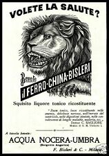 PUBBLICITA'1924 FERRO CHINA BISLERI TONICO LIQUOR ACQUA NOCERA UMBRA LEONE ROBUR