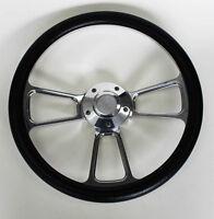 """1964 1965 Chevelle El Camino Black and Billet Steering Wheel 14"""" Bowtie Cap"""