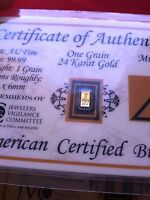 ACB Gold Vertical 1GRAIN 24K AU BULLION BAR 9999 FINE W/ CERTIFICATE !